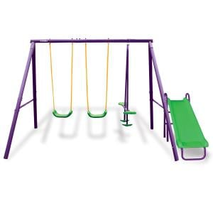 Kahuna Kids 4-Seater Swing Set with Slide Purple Green