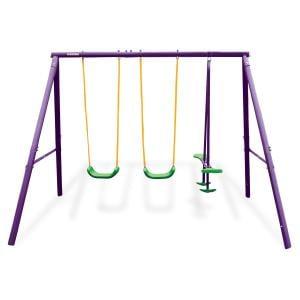 Kahuna Kids 4-Seater Swing Set Purple Green
