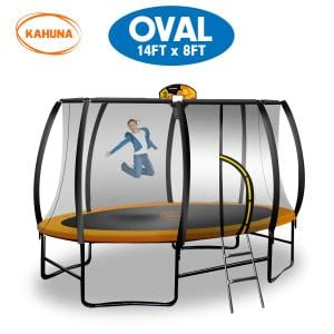 Kahuna Outdoor Oval Trampoline 8 ft x 14 ft - Orange