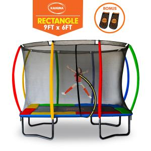 Kahuna Outdoor Rectangular Trampoline 6 ft x 9 ft with Rainbow Safety Pad