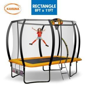 Kahuna Outdoor Rectangular Trampoline 8 ft x 11 ft - Orange