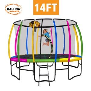 Kahuna 14 ft Trampoline with Rainbow Safety  Pad