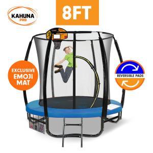 Kahuna Pro 8 ft Trampoline with Emoji Mat Reversible Pad Basketball Set