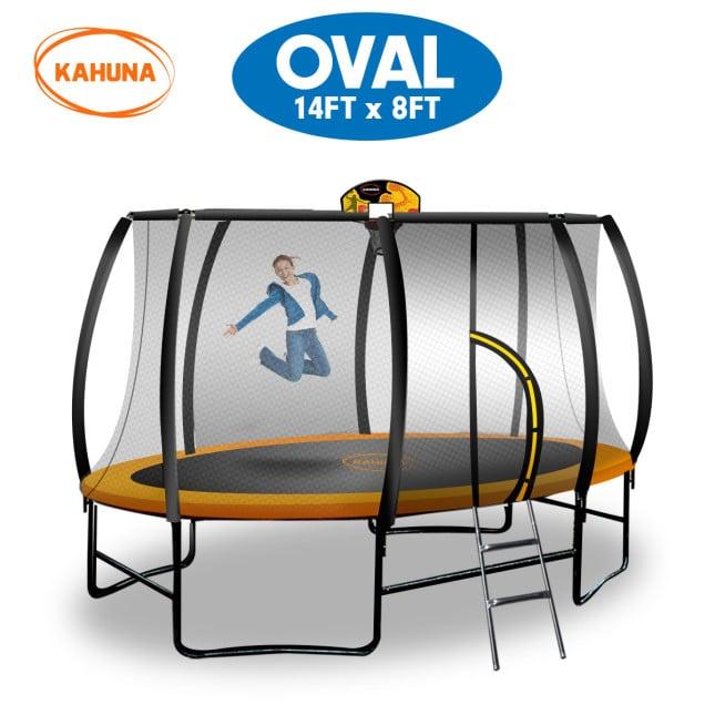 Kahuna Outdoor Oval Trampoline 8 ft x 14 ft - Orange