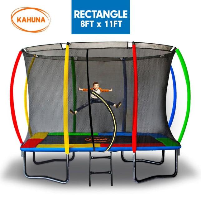 Kahuna Trampoline 8 ft x 11 ft Outdoor Rectangular Rainbow