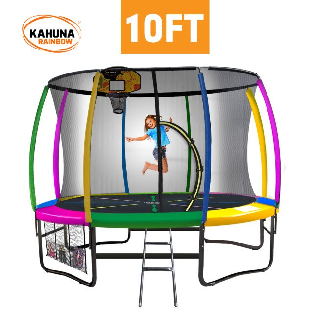 Kahuna 10 ft Trampoline with Rainbow Safety Pad
