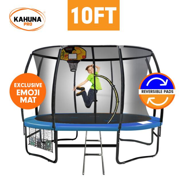 Kahuna Pro 10 ft Trampoline with Emoji Mat Reversible Pad Basketball Set