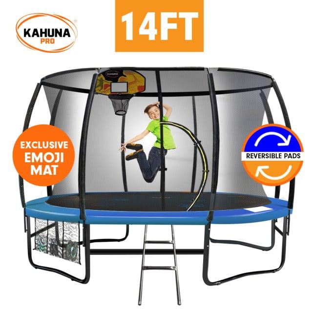 Kahuna Pro 14 ft Trampoline with Emoji Mat Reversible Pad Basketball Set
