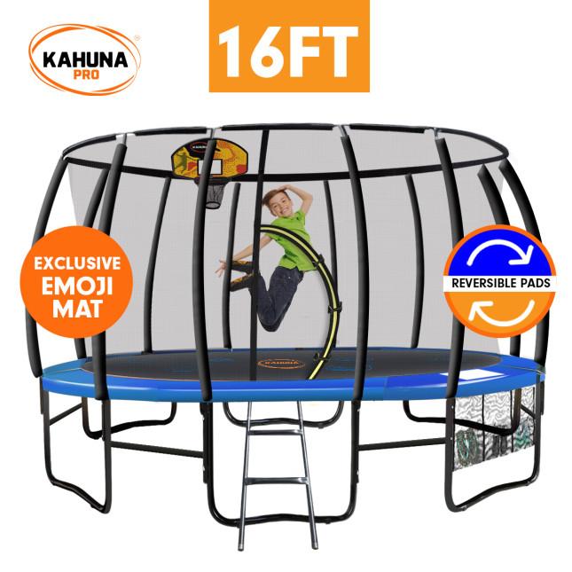 Kahuna Pro 16 ft Trampoline with Emoji Mat Reversible Pad Basketball Set